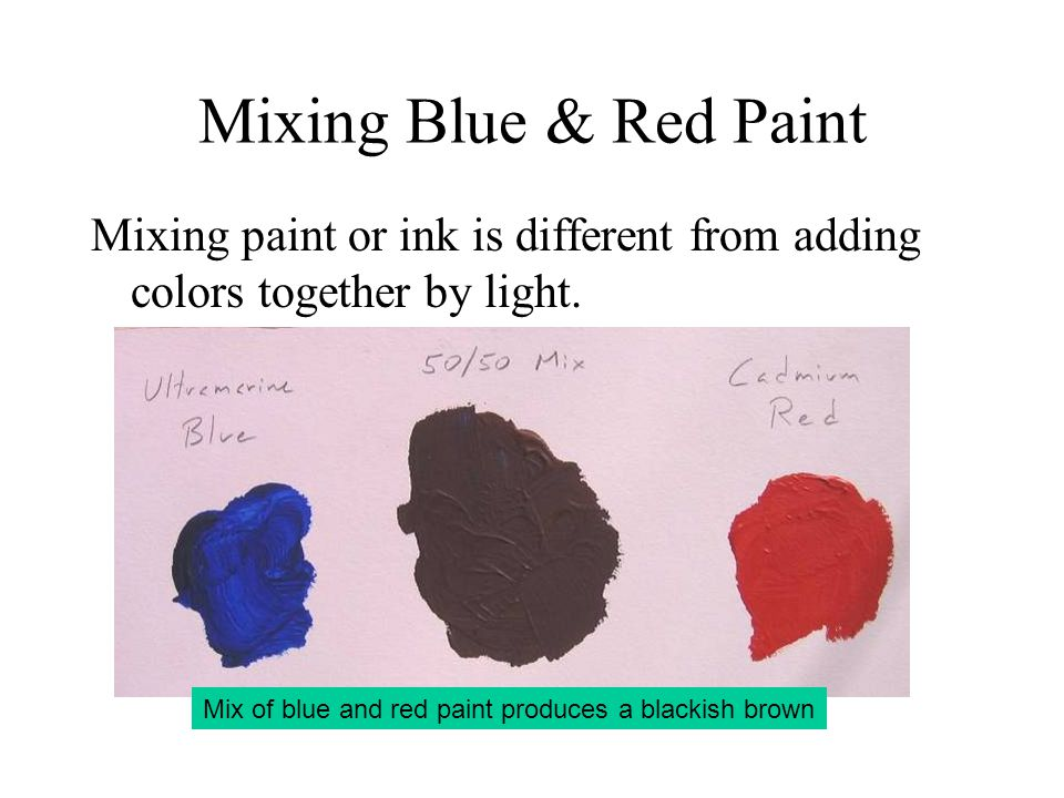 Mixing Blue & Red Paint Mixing paint or ink is different from adding colors together by light.