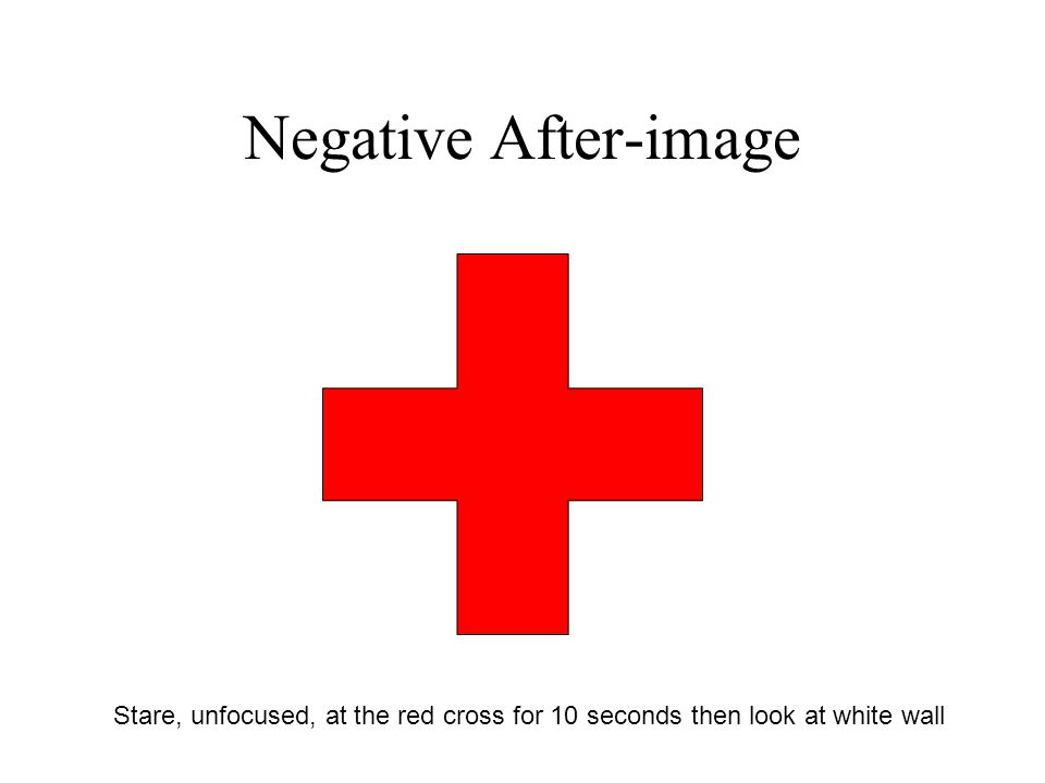 Negative After-image Stare, unfocused, at the red cross for 10 seconds then look at white wall