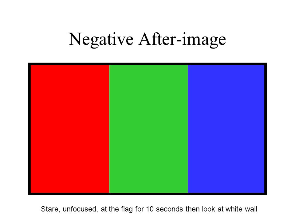 Negative After-image Stare, unfocused, at the flag for 10 seconds then look at white wall