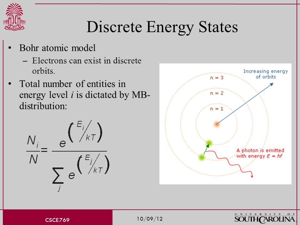 10/09/12 CSCE 769 Discrete Energy States Bohr atomic model – Electrons can exist in discrete orbits.