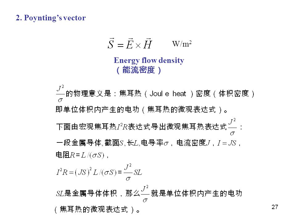 27 2. Poynting's vector W/m 2 Energy flow density (能流密度)