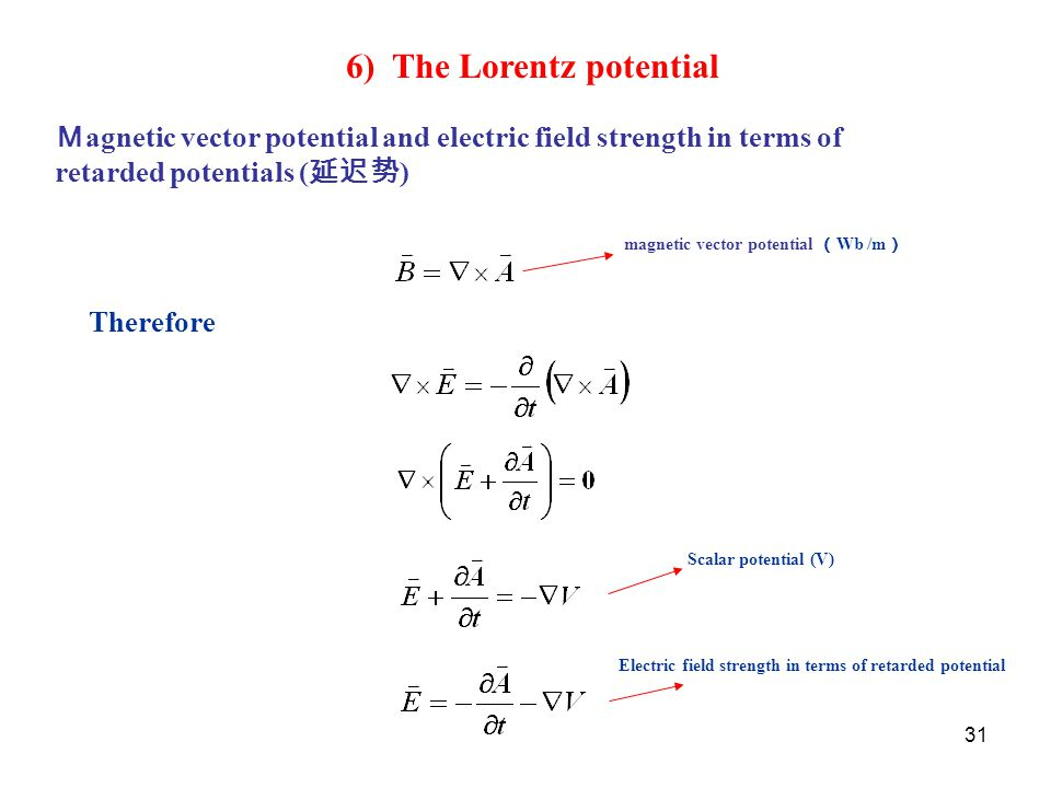 31 Therefore 6) The Lorentz potential M agnetic vector potential and electric field strength in terms of retarded potentials ( 延迟势 ) magnetic vector p