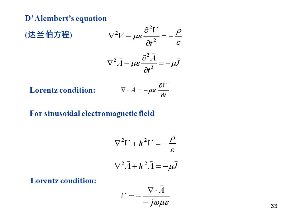 33 Lorentz condition: D' Alembert's equation ( 达兰伯方程 ) For sinusoidal electromagnetic field Lorentz condition: