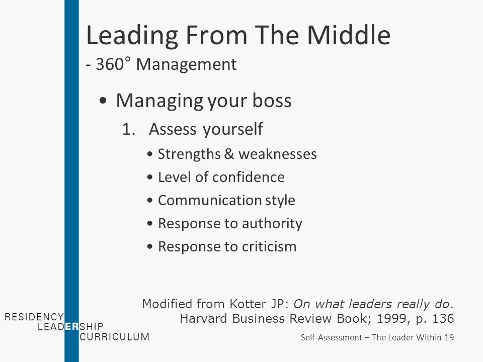 Leading From The Middle - 360° Management Managing your boss 1.Assess yourself Strengths & weaknesses Level of confidence Communication style Response to authority Response to criticism Modified from Kotter JP: On what leaders really do.