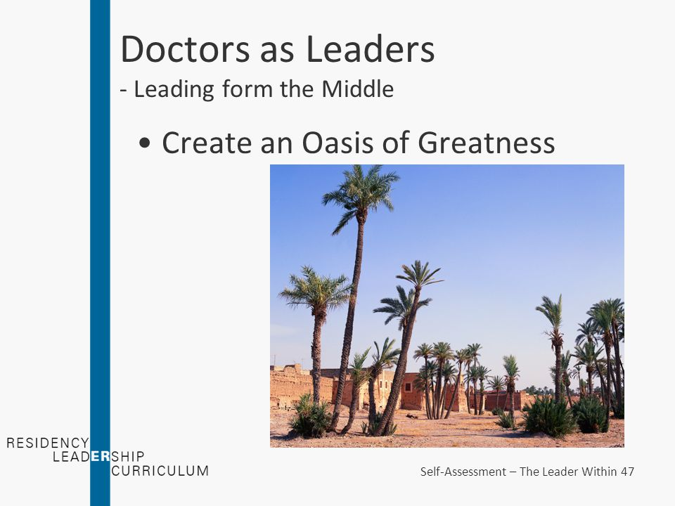 Doctors as Leaders - Leading form the Middle Create an Oasis of Greatness Self-Assessment – The Leader Within 47