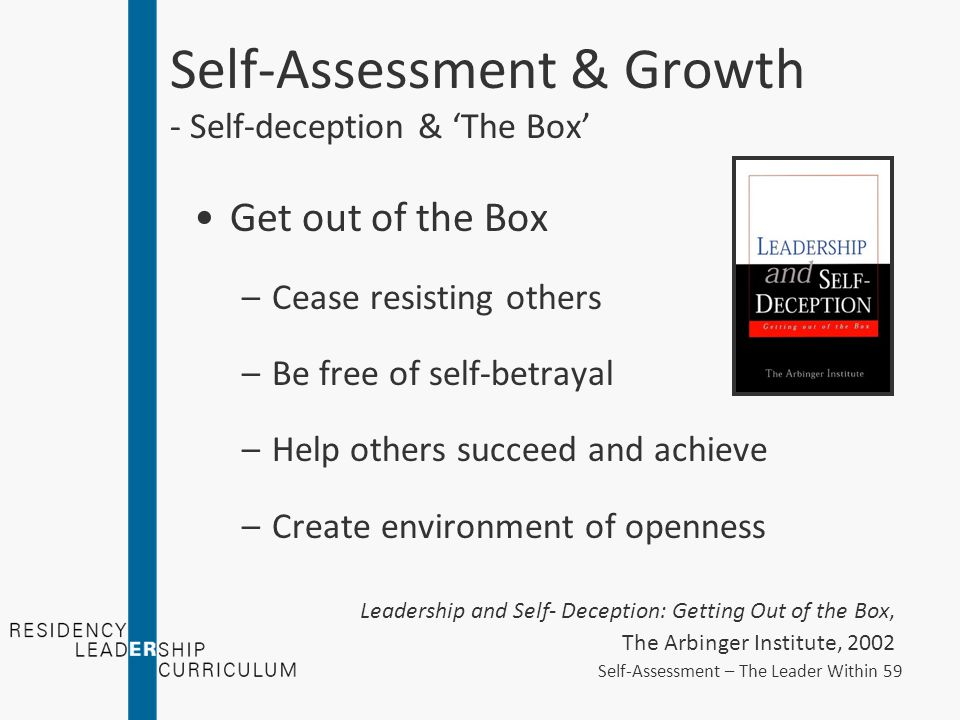 Self-Assessment & Growth - Self-deception & 'The Box' Get out of the Box –Cease resisting others –Be free of self-betrayal –Help others succeed and achieve –Create environment of openness Leadership and Self- Deception: Getting Out of the Box, The Arbinger Institute, 2002 Self-Assessment – The Leader Within 59