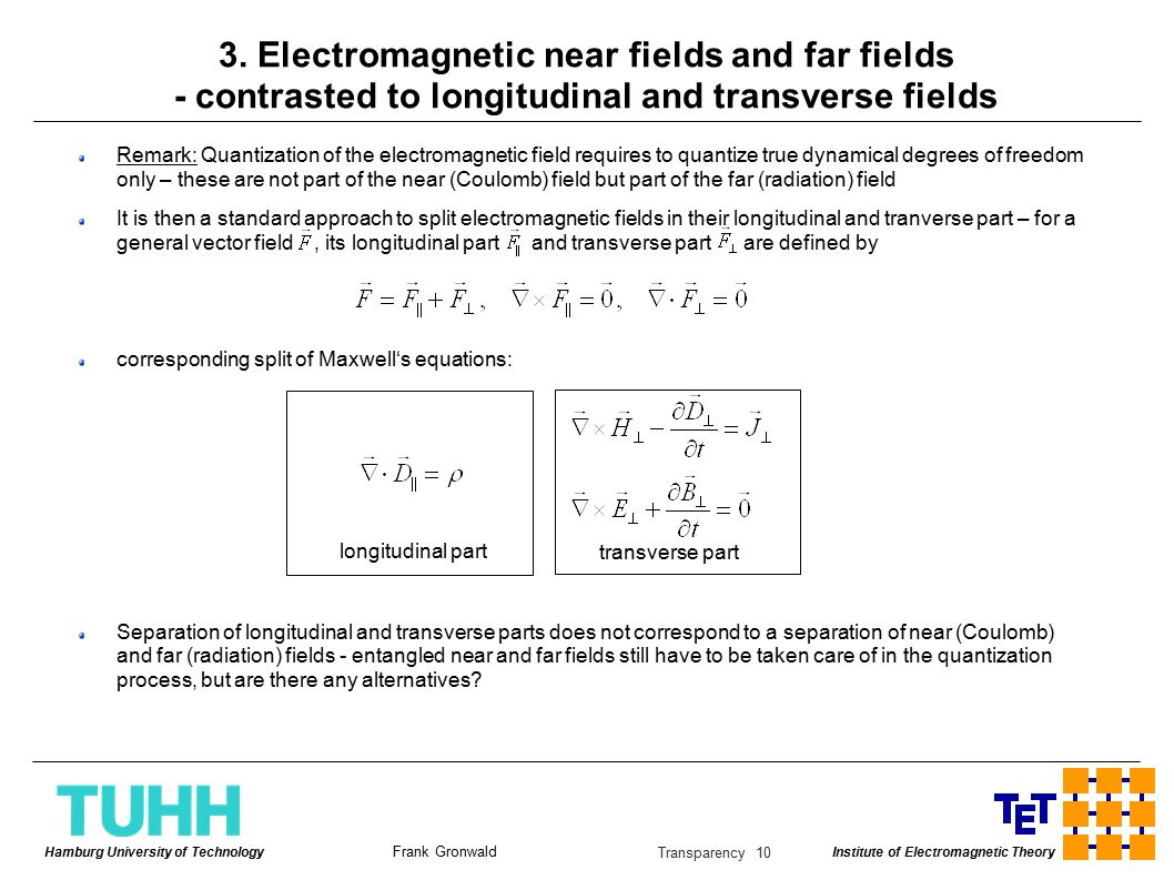 Institute of Electromagnetic Theory Frank Gronwald Hamburg University of Technology Transparency 10 3.