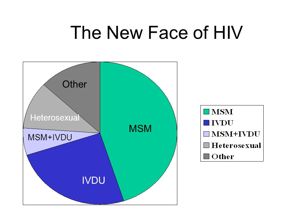 The New Face of HIV MSM IVDU MSM+IVDU Other Heterosexual