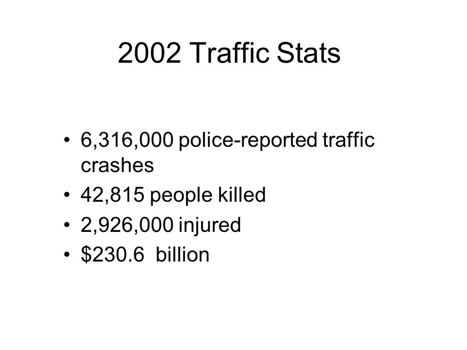 2002 Traffic Stats 6,316,000 police-reported traffic crashes 42,815 people killed 2,926,000 injured $230.6 billion