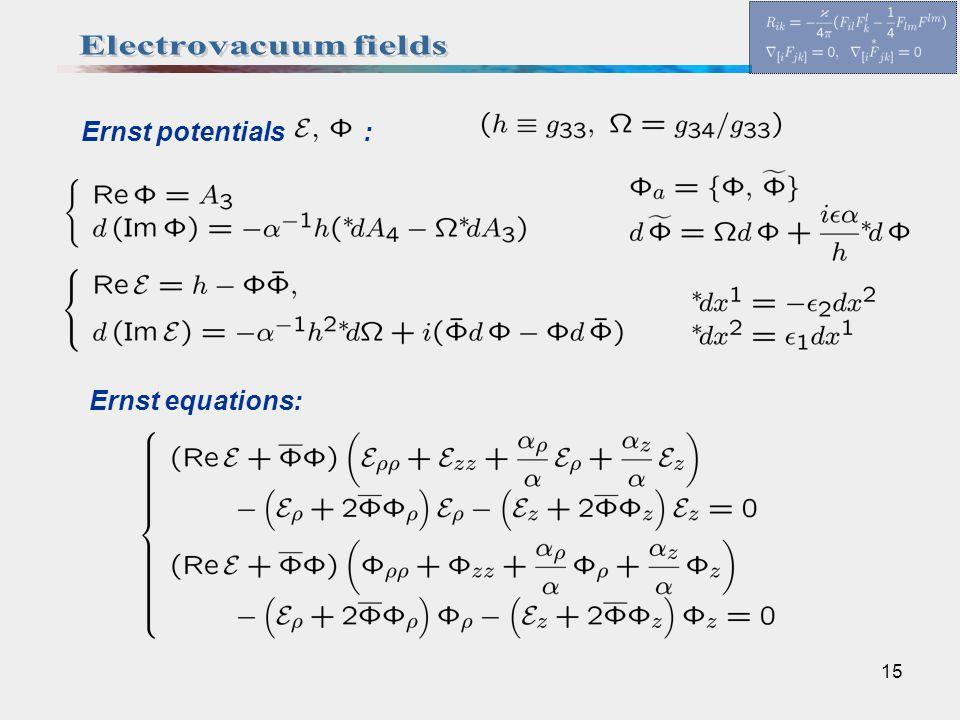 15 Ernst potentials : Ernst equations: