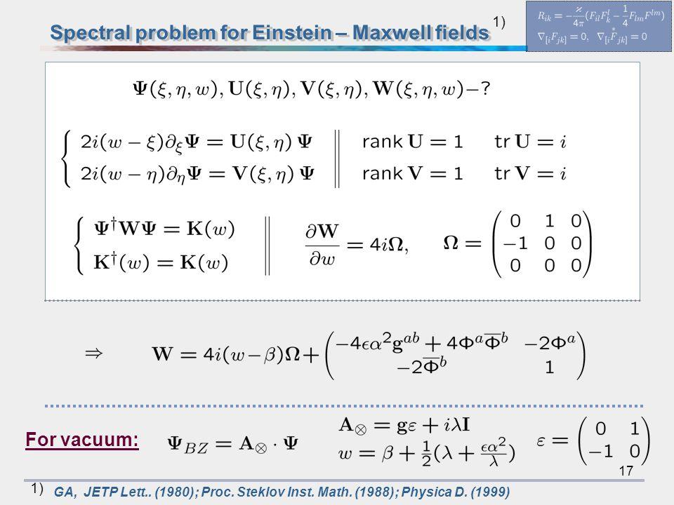 17 1) GA, JETP Lett.. (1980); Proc. Steklov Inst. Math. (1988); Physica D. (1999) 1) For vacuum: