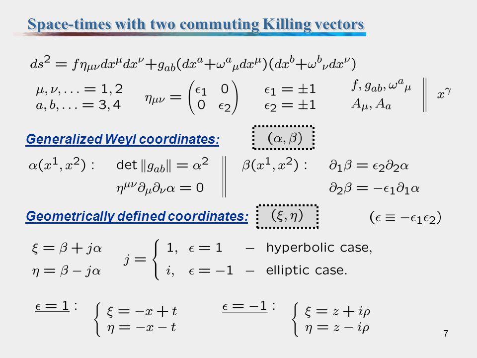 7 Geometrically defined coordinates: Generalized Weyl coordinates: