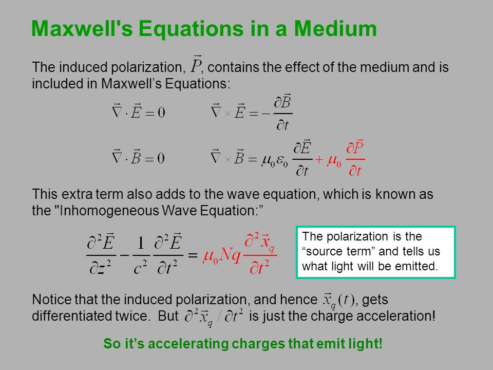 The Maxwell-Boltzman Distribution In equilibrium, the ratio of the populations of two states is: N 2 / N 1 = exp (–  E/k B T ), where  E = E 2 – E 1 = h As a result, higher-energy states are always less populated than the ground state, and absorption is stronger than stimulated emission.