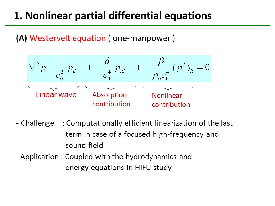 1. Nonlinear partial differential equations (A) Westervelt equation ( one-manpower ) - Challenge : Computationally efficient linearization of the last