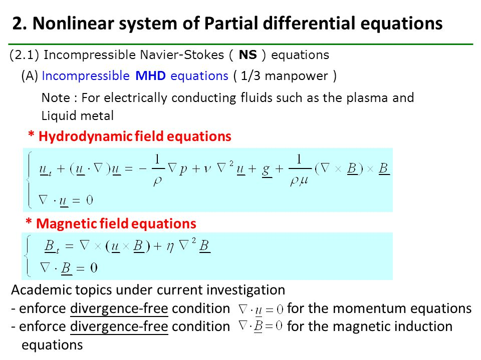 2. Nonlinear system of Partial differential equations (A) Incompressible MHD equations ( 1/3 manpower ) * Hydrodynamic field equations * Magnetic fiel