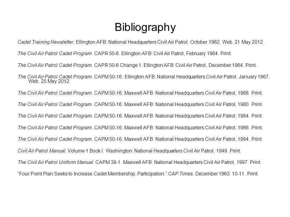 Bibliography Cadet Training Newsletter.