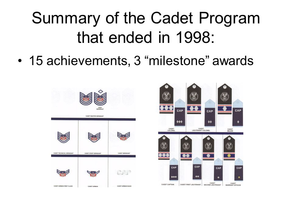 Summary of the Cadet Program that ended in 1998: 15 achievements, 3 milestone awards