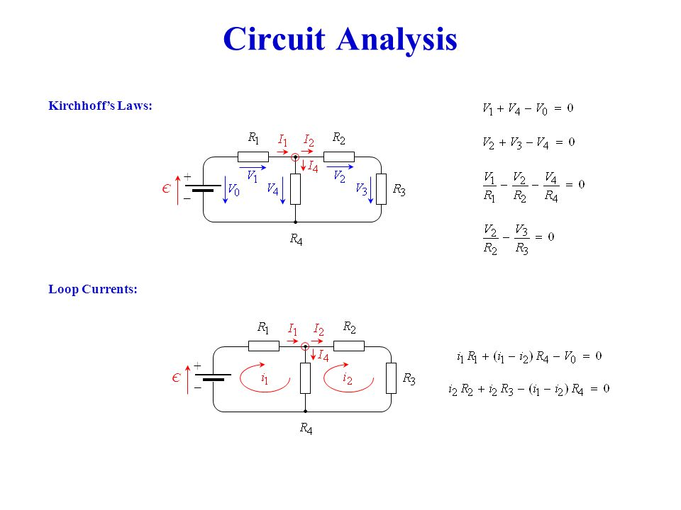 Circuit Analysis Loop Currents: Kirchhoff's Laws: + _ Є + _ Є
