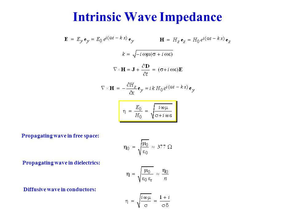 Intrinsic Wave Impedance Propagating wave in free space: Propagating wave in dielectrics: Diffusive wave in conductors: