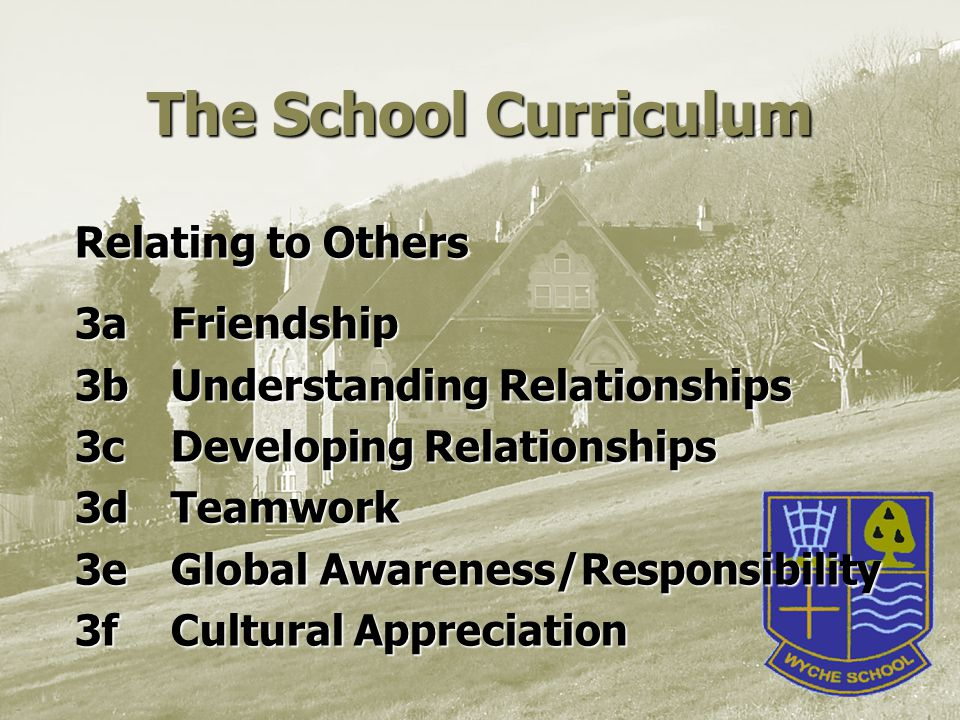 The School Curriculum Relating to Others 3aFriendship 3b Understanding Relationships 3cDeveloping Relationships 3d Teamwork 3eGlobal Awareness/Responsibility 3f Cultural Appreciation