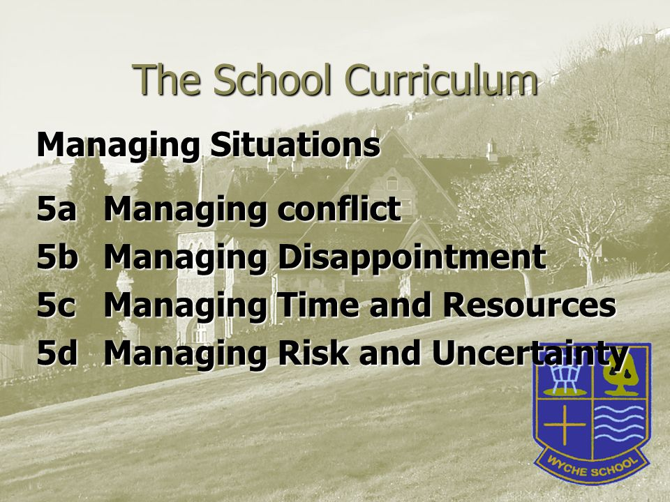 The School Curriculum Managing Situations 5aManaging conflict 5bManaging Disappointment 5cManaging Time and Resources 5dManaging Risk and Uncertainty