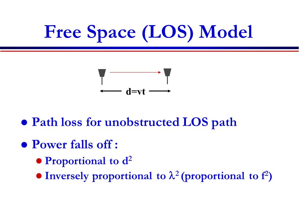 Free Space (LOS) Model Path loss for unobstructed LOS path Power falls off : Proportional to d 2 Inversely proportional to 2 (proportional to f 2 ) d=vt