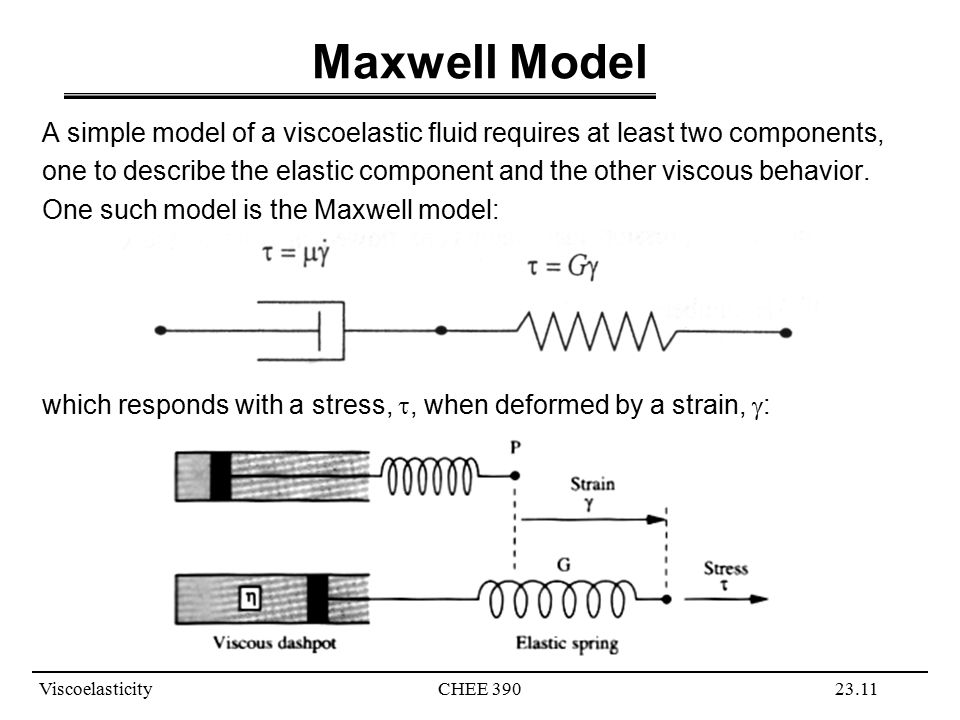 ViscoelasticityCHEE 39023.11 Maxwell Model A simple model of a viscoelastic fluid requires at least two components, one to describe the elastic component and the other viscous behavior.