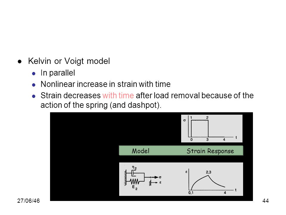 27/06/4644 Kelvin or Voigt model In parallel Nonlinear increase in strain with time Strain decreases with time after load removal because of the actio