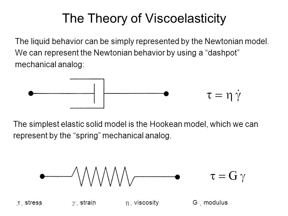 The Theory of Viscoelasticity The liquid behavior can be simply represented by the Newtonian model. We can represent the Newtonian behavior by using a