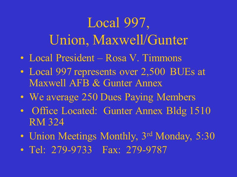 Local 997, Union, Maxwell/Gunter Local President – Rosa V.