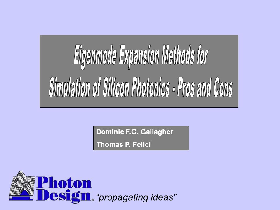 """propagating ideas"" Dominic F.G. Gallagher Thomas P. Felici"