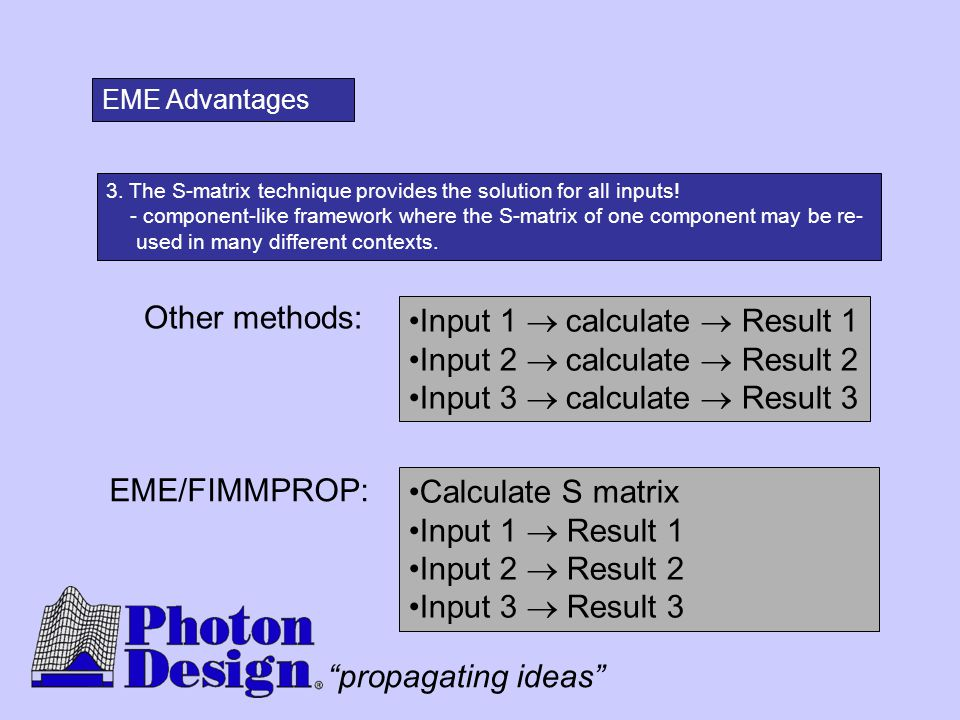 """propagating ideas"" 3. The S-matrix technique provides the solution for all inputs! - component-like framework where the S-matrix of one component may"