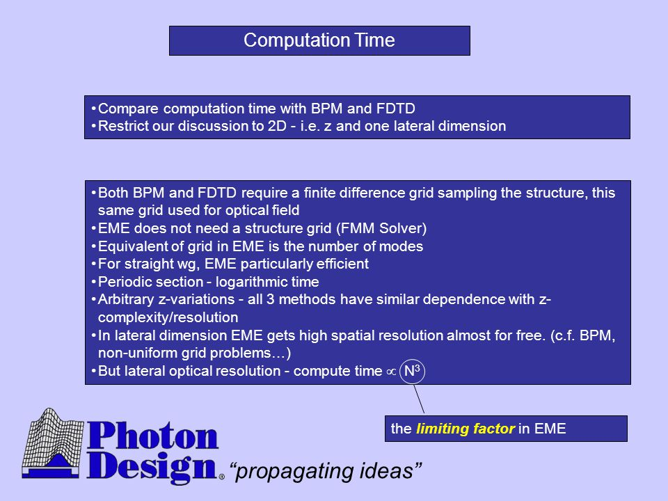 """propagating ideas"" Both BPM and FDTD require a finite difference grid sampling the structure, this same grid used for optical field EME does not need"
