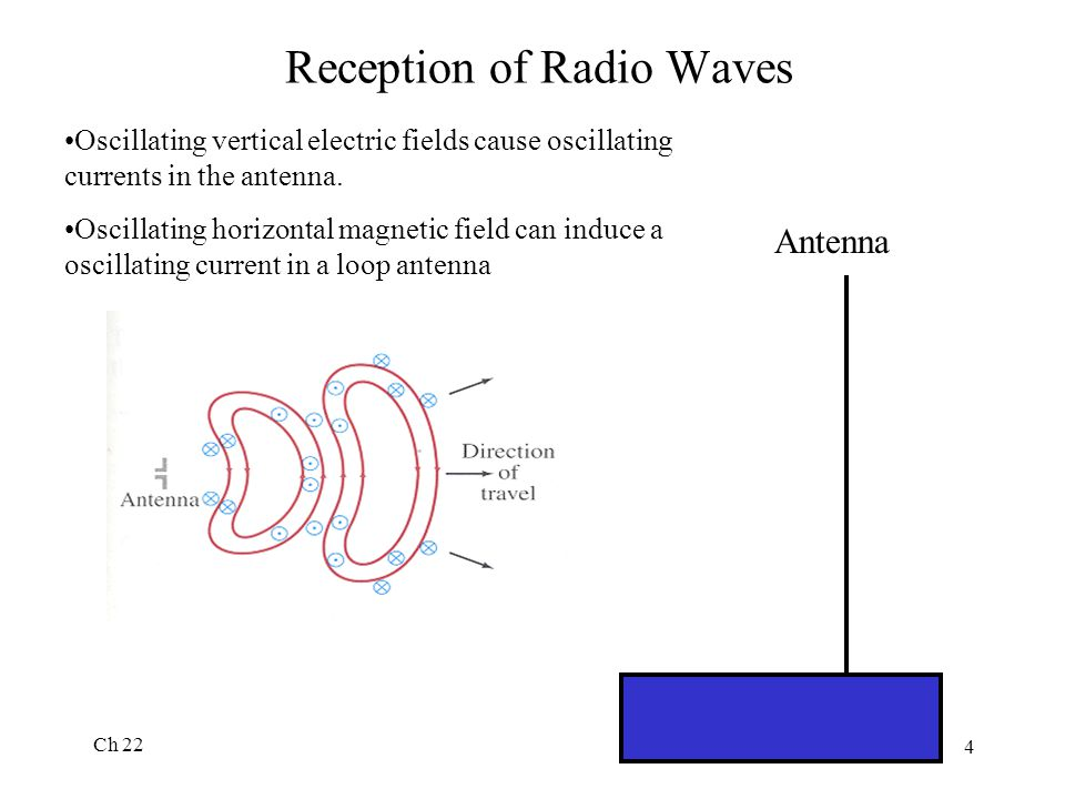 Ch 22 4 Reception of Radio Waves Antenna Oscillating vertical electric fields cause oscillating currents in the antenna. Oscillating horizontal magnet