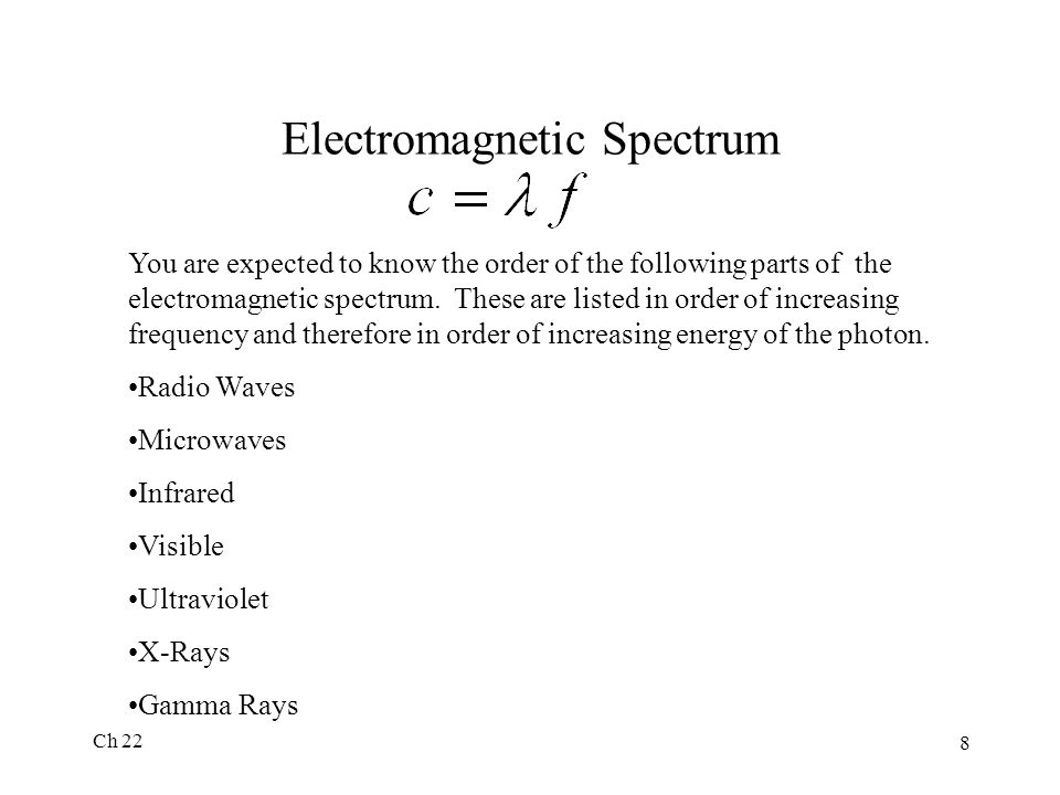 Ch 22 8 Electromagnetic Spectrum You are expected to know the order of the following parts of the electromagnetic spectrum. These are listed in order