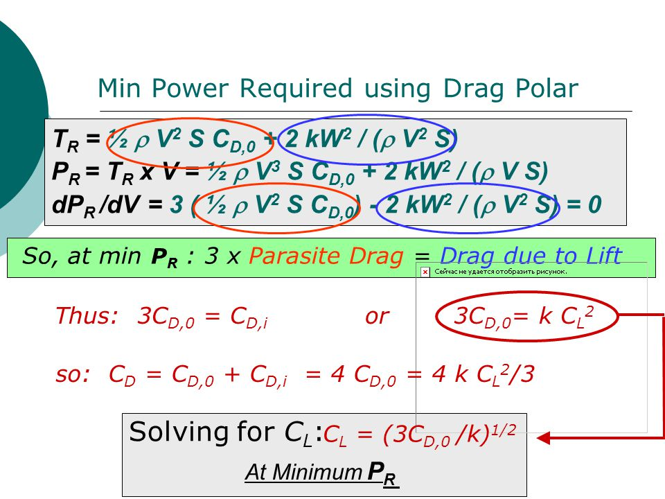 Min Power Required using Drag Polar So, at min P R : 3 x Parasite Drag = Drag due to Lift so: C D = C D,0 + C D,i = 4 C D,0 = 4 k C L 2 /3 Solving for
