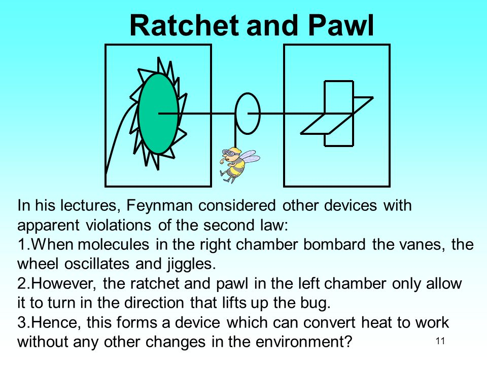 11 Ratchet and Pawl In his lectures, Feynman considered other devices with apparent violations of the second law: 1.When molecules in the right chambe