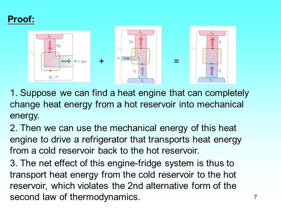 7 Proof: 1. Suppose we can find a heat engine that can completely change heat energy from a hot reservoir into mechanical energy. 2. Then we can use t