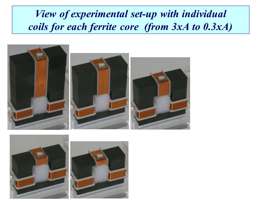 View of experimental set-up with individual coils for each ferrite core (from 3xA to 0.3xA)