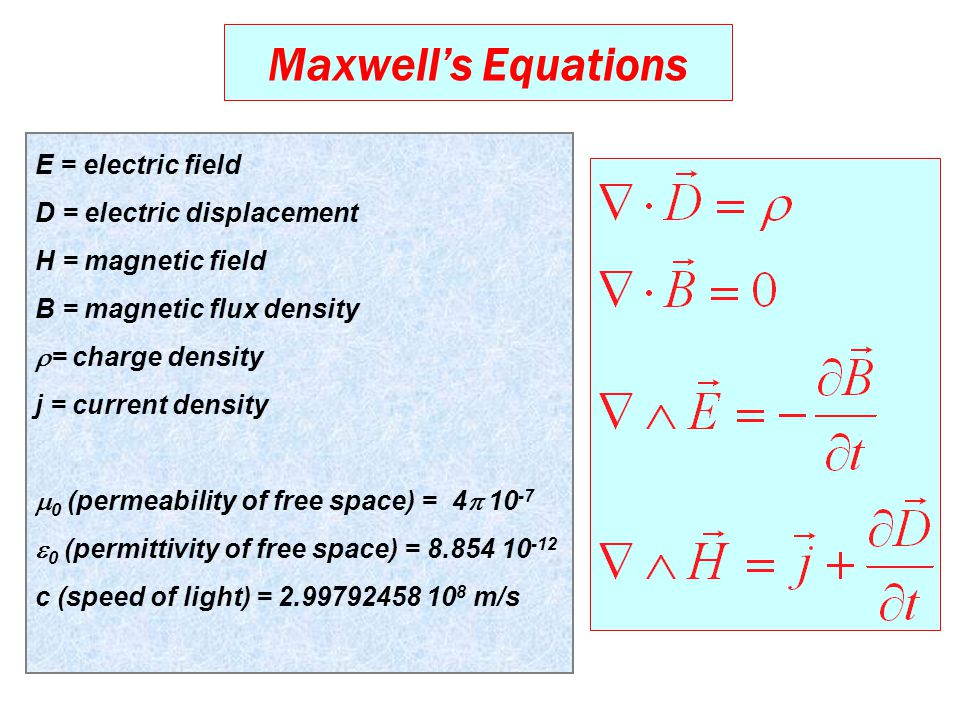 Maxwell's Equations E = electric field D = electric displacement H = magnetic field B = magnetic flux density  = charge density j = current density  0 (permeability of free space) = 4  10 -7  0 (permittivity of free space) = 8.854 10 -12 c (speed of light) = 2.99792458 10 8 m/s
