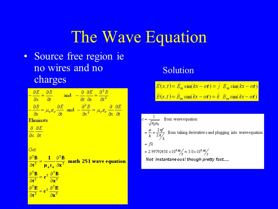 The Wave Equation Source free region ie no wires and no charges Solution