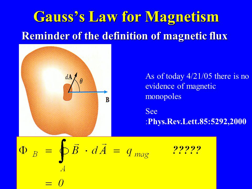 Gauss's Law for Magnetism Reminder of the definition of magnetic flux As of today 4/21/05 there is no evidence of magnetic monopoles See :Phys.Rev.Lett.85:5292,2000