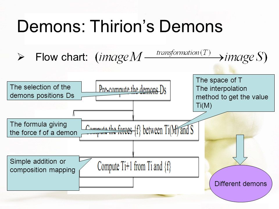 Demons: Thirion's Demons  Flow chart: The selection of the demons positions Ds The space of T The interpolation method to get the value Ti(M) The formula giving the force f of a demon Simple addition or composition mapping Different demons