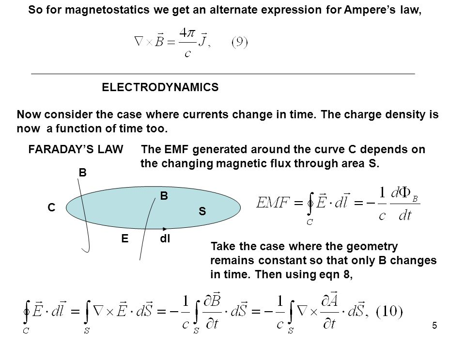 5 So for magnetostatics we get an alternate expression for Ampere's law, ELECTRODYNAMICS Now consider the case where currents change in time.