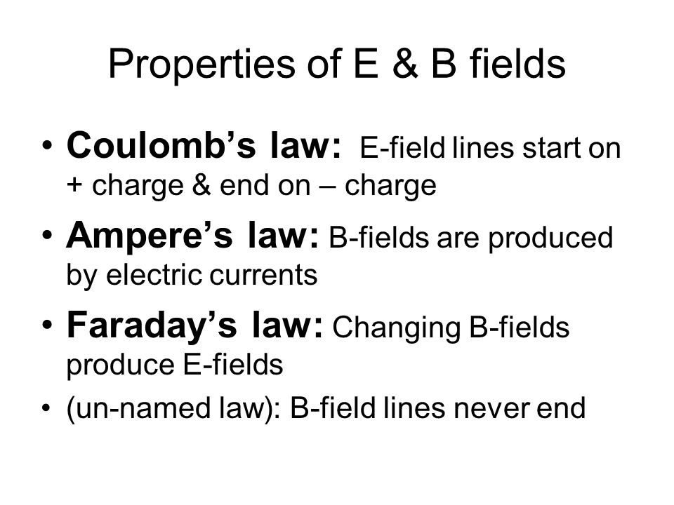 Properties of E & B fields Coulomb's law: E-field lines start on + charge & end on – charge Ampere's law: B-fields are produced by electric currents Faraday's law: Changing B-fields produce E-fields (un-named law): B-field lines never end