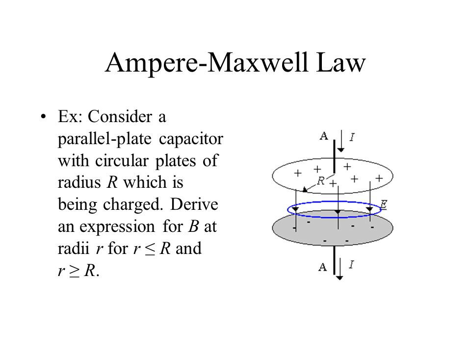 Ampere-Maxwell Law Ex: Consider a parallel-plate capacitor with circular plates of radius R which is being charged.