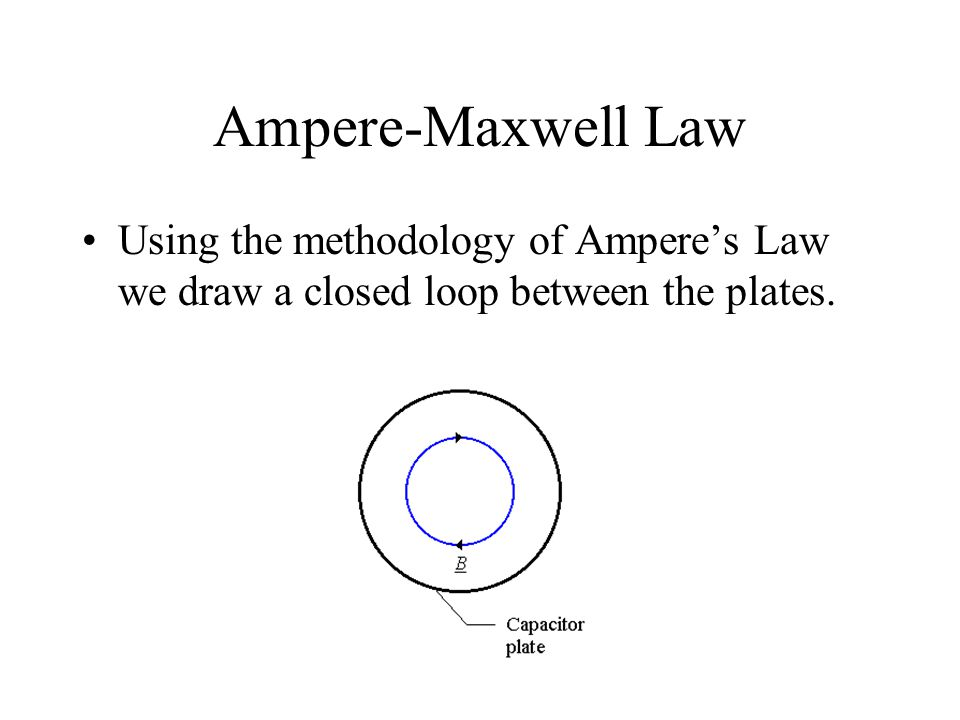 Ampere-Maxwell Law Using the methodology of Ampere's Law we draw a closed loop between the plates.