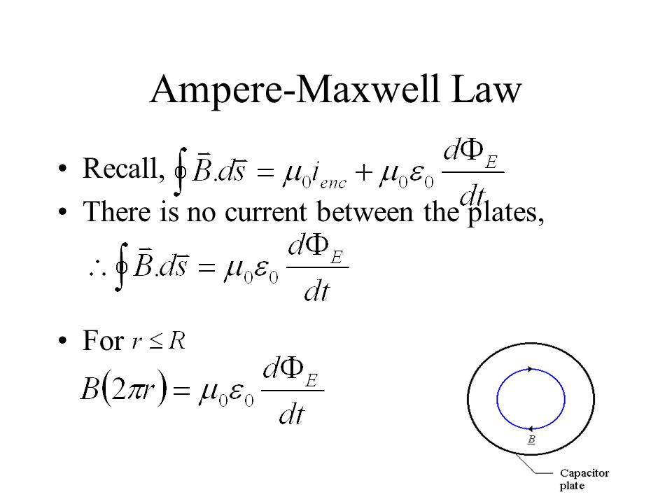 Ampere-Maxwell Law Recall, There is no current between the plates, For