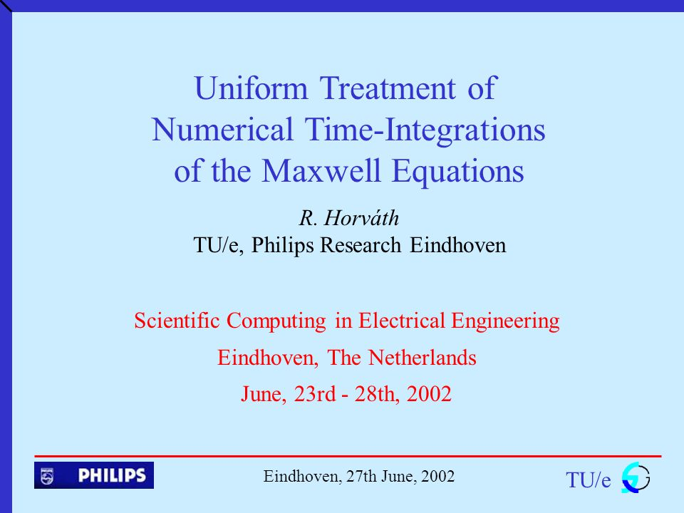 Uniform Treatment of Numerical Time-Integrations of the Maxwell Equations R.
