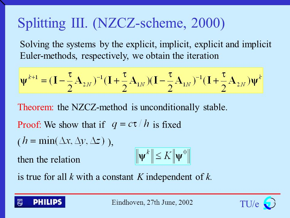 TU/e Eindhoven, 27th June, 2002 Splitting III.